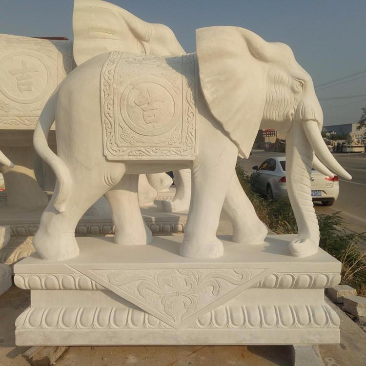 汉白玉石雕大象雕塑 大理石如意招财象 园林庭院镇宅风水石头象一对 别墅酒店会所吸财大象