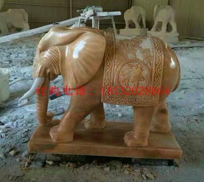 石雕大象,晚霞红吉祥大象