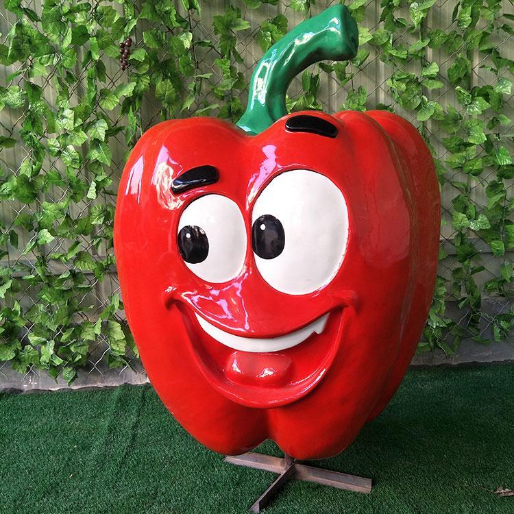 玻璃钢卡通柿子椒椒雕塑 卡通户外蔬菜水果农作物雕塑定制,鹏钊