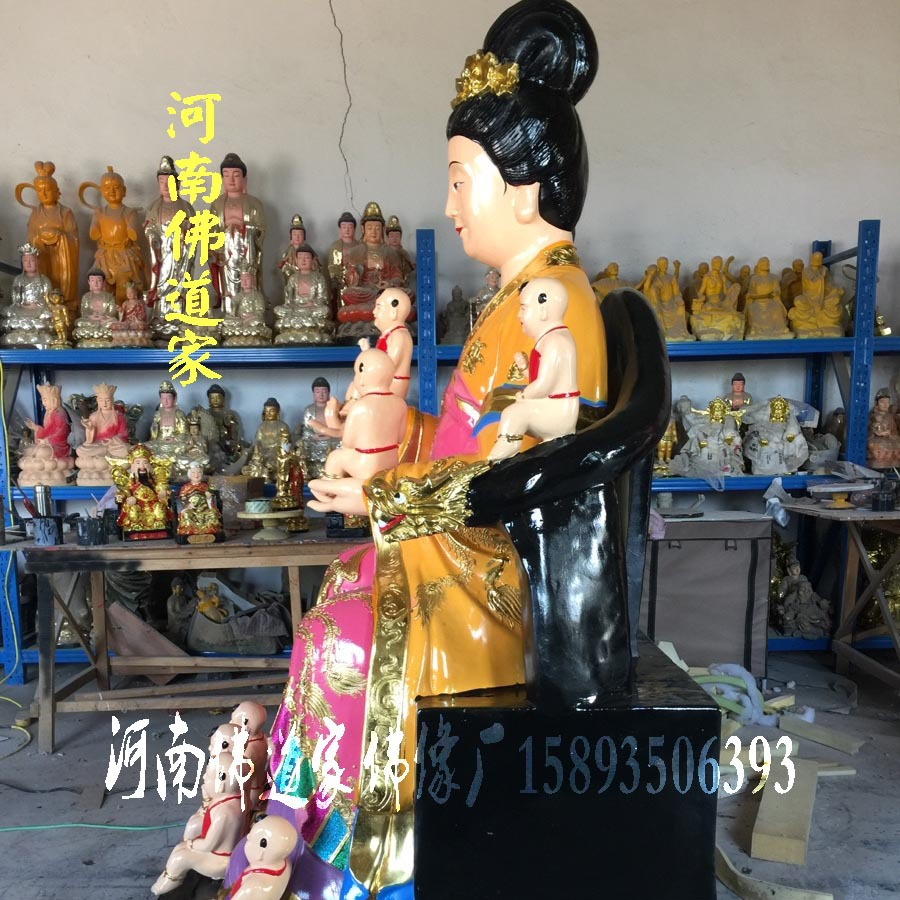 河南佛像雕塑厂 桃花圣母佛像图片 金花教主神像 九龙圣母佛道家示例图2