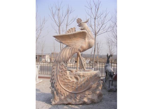 凤凰石材雕刻 花岗岩凤凰雕塑 晚霞红凤凰雕塑 现货