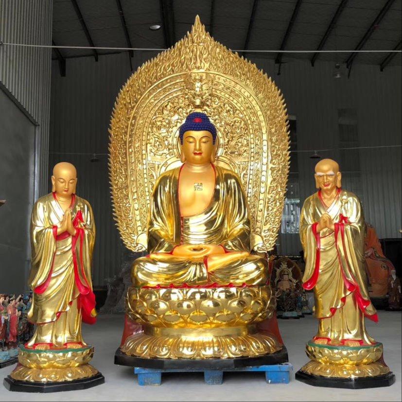 雕塑释迦牟尼佛像 贴金佛祖二弟子佛像制作