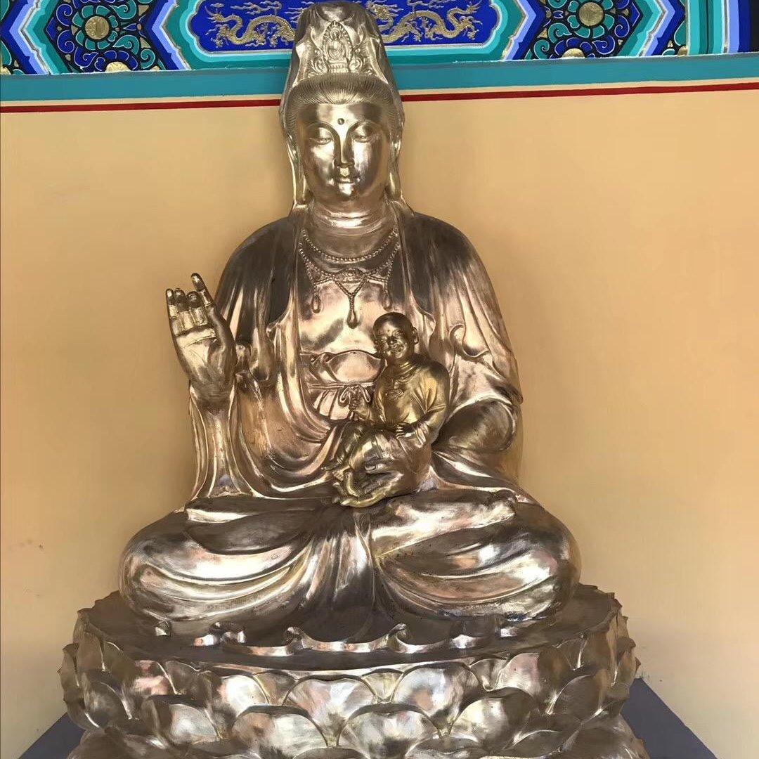 佛教寺院佛像雕塑定做 大型观世音佛像送子观音