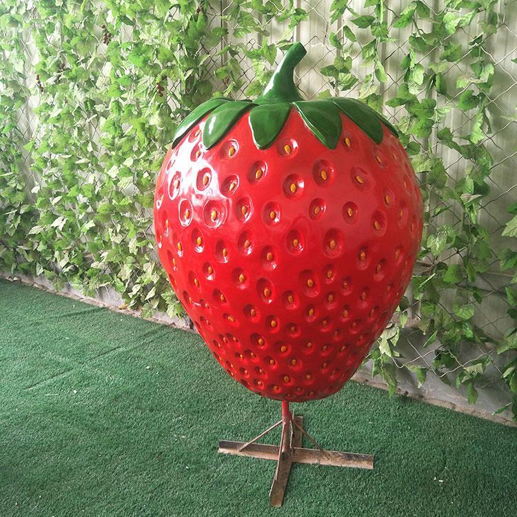 玻璃钢草莓雕塑 采摘园水果雕塑定制 卡通草莓定做,鹏钊