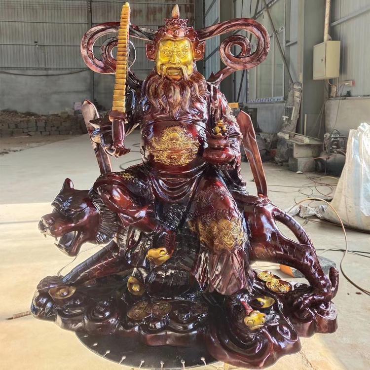 骑虎赵公明铜财神爷 铸铜神像铜雕塑 圣喜玛