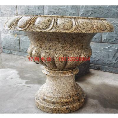 花岗岩花盆雕塑 石雕花钵