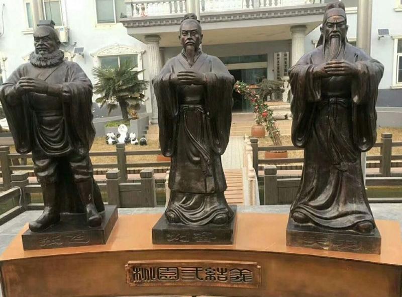 桃园三结义铜雕像 铸铜人物像制作生产厂家 圣喜玛