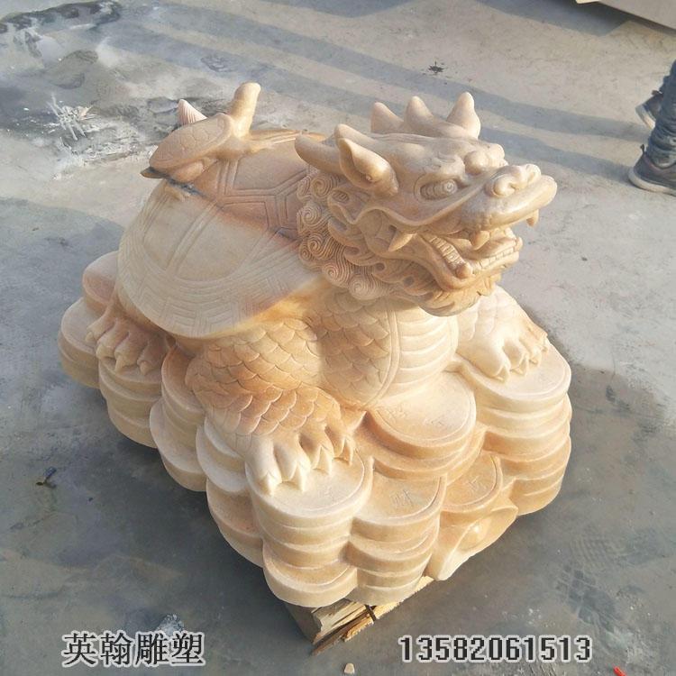 石雕龙龟 晚霞红雄雌龙头龟石雕 石雕动物定制厂家
