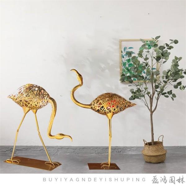 滨州市磊鸿园林不锈钢雕塑生产厂家 火烈鸟动物雕塑 城市园林不锈钢雕塑