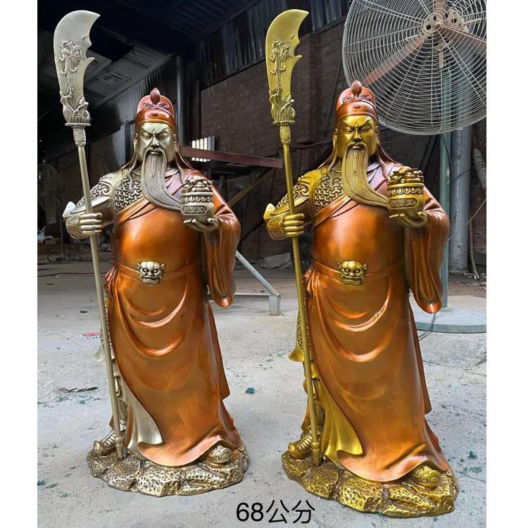 大型纯铜彩绘关公定制厂家 玻璃钢仿铜关公雕塑 圣喜玛