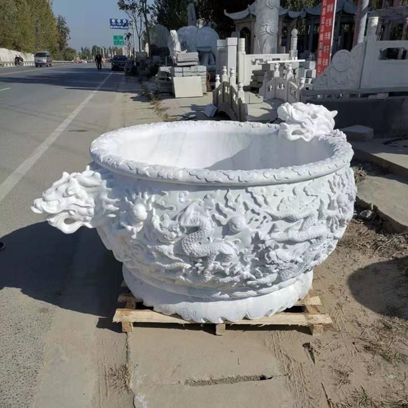汉白玉石缸 养鱼水缸价格 曲阳石缸 大理石雕塑 青石花盆价格