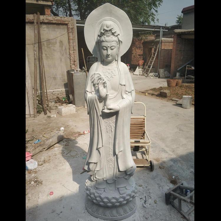 专业定做石雕观音佛像 寺院祭祀佛像 汉白玉大型石雕观音厂家定制 大理石三面观音菩萨