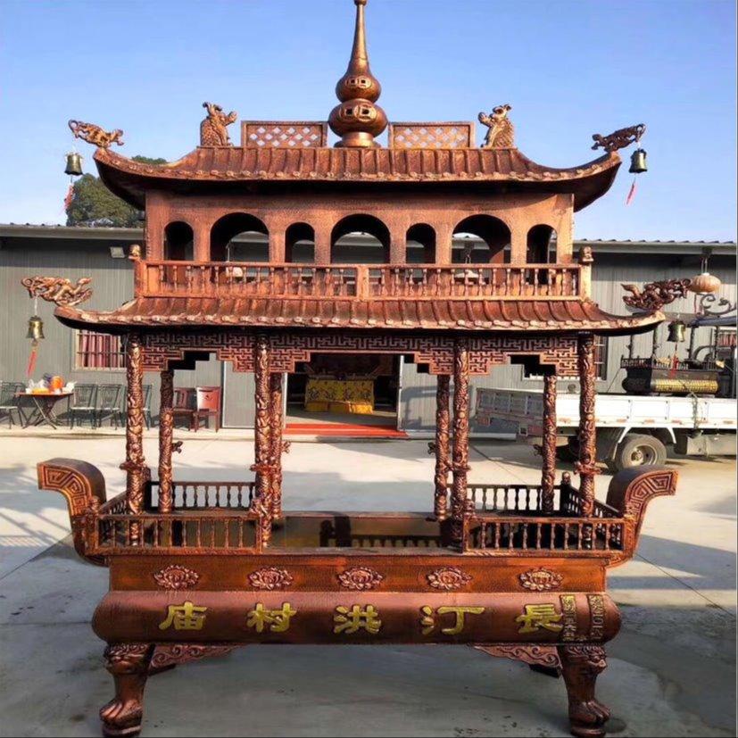 寺庙长方形二层香炉 道观焚香香炉定做厂家