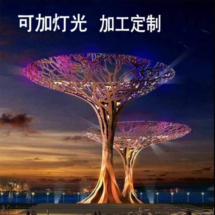 不锈钢雕塑定制 发光树不锈钢雕塑 圣喜玛