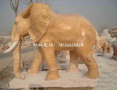 石雕大象,晚霞红动物雕塑