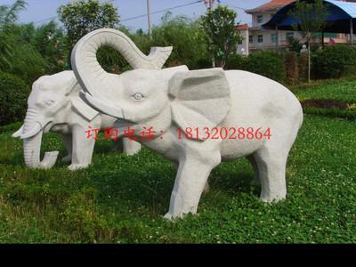 公园石雕大象 大理石动物雕塑