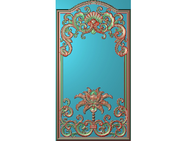 OUHQ001-JDP格式欧式护墙板精雕图欧式洋花浮雕电脑精雕图洋花护墙板雕刻图(含灰度图)