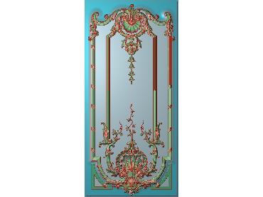 OUHQ008-JDP格式欧式护墙板精雕图欧式洋花浮雕电脑精雕图洋花护墙板雕刻图(含灰度图)