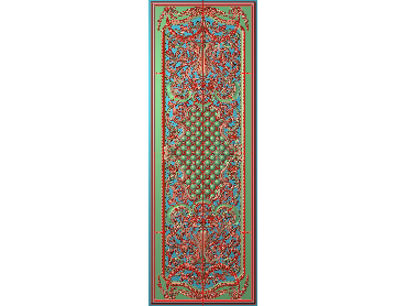 OUHQ024-JDP格式欧式护墙板精雕图欧式洋花浮雕电脑精雕图洋花护墙板雕刻图(含灰度图)