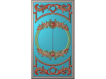 OUHQ044-JDP格式欧式护墙板精雕图欧式洋花浮雕电脑精雕图洋花护墙板雕刻图(含灰度图)
