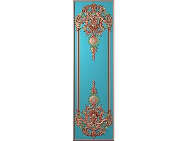 OUHQ057-JDP格式欧式护墙板精雕图欧式洋花浮雕电脑精雕图洋花护墙板雕刻图(含灰度图)
