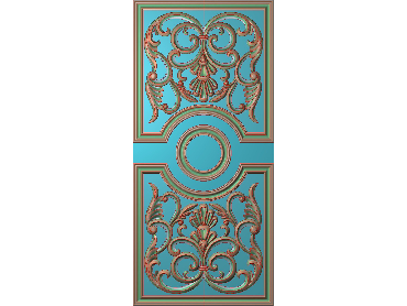 OUHQ084-JDP格式欧式护墙板精雕图欧式洋花浮雕电脑精雕图洋花护墙板雕刻图(含灰度图)