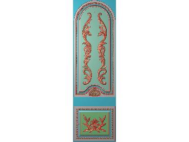 OUHQ097-JDP格式欧式护墙板精雕图欧式洋花浮雕电脑精雕图洋花护墙板雕刻图(含灰度图)