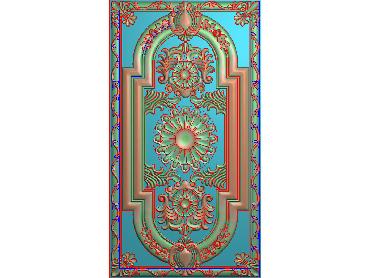 OUHQ104-JDP格式欧式护墙板精雕图欧式洋花浮雕电脑精雕图洋花护墙板雕刻图(含灰度图)