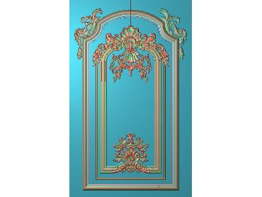 OUHQ118-JDP格式欧式护墙板精雕图欧式洋花浮雕电脑精雕图洋花护墙板雕刻图(含灰度图)