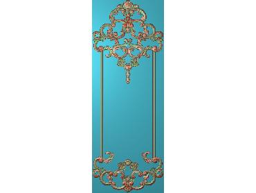 OUHQ119-JDP格式欧式护墙板精雕图欧式洋花浮雕电脑精雕图洋花护墙板雕刻图(含灰度图)