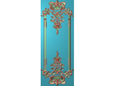 OUHQ193-JDP格式欧式护墙板精雕图欧式洋花浮雕电脑精雕图洋花护墙板雕刻图(含灰度图)