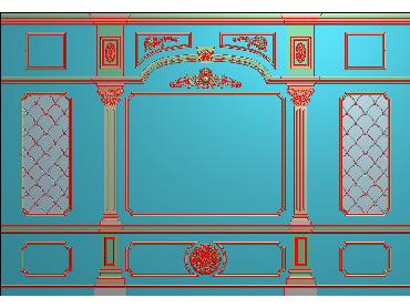 OBJQ001-JDP格式欧式整体背景墙精雕图电视背景墙电脑雕刻图背景墙浮雕精雕图(含灰度图)