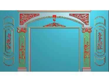 OBJQ003-JDP格式欧式整体背景墙精雕图电视背景墙电脑雕刻图背景墙浮雕精雕图(含灰度图)