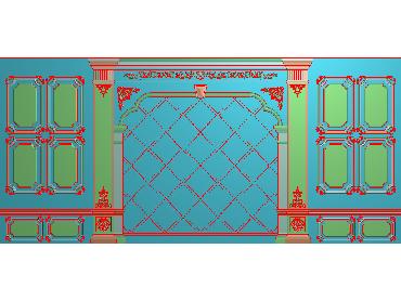 OBJQ004-JDP格式欧式整体背景墙精雕图电视背景墙电脑雕刻图背景墙浮雕精雕图(含灰度图)
