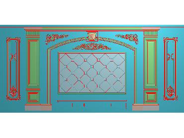 OBJQ005-JDP格式欧式整体背景墙精雕图电视背景墙电脑雕刻图背景墙浮雕精雕图(含灰度图)