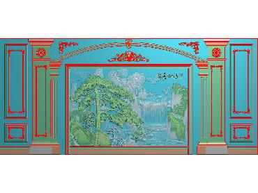 OBJQ006-JDP格式欧式整体背景墙精雕图电视背景墙电脑雕刻图背景墙浮雕精雕图(含灰度图)