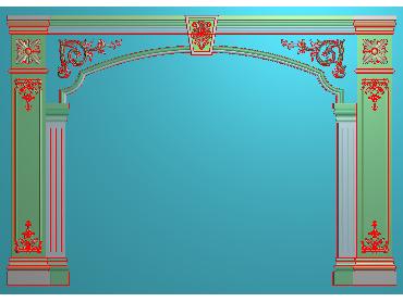 OBJQ007-JDP格式欧式整体背景墙精雕图电视背景墙电脑雕刻图背景墙浮雕精雕图(含灰度图)