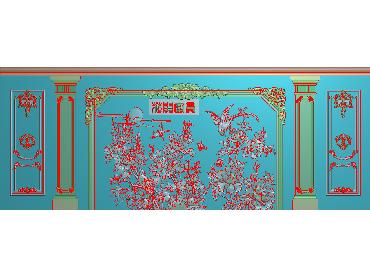 OBJQ010-JDP格式欧式整体背景墙精雕图电视背景墙电脑雕刻图背景墙浮雕精雕图(含灰度图)