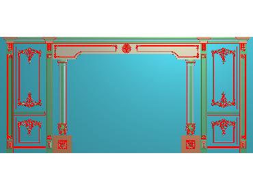 OBJQ011-JDP格式欧式整体背景墙精雕图电视背景墙电脑雕刻图背景墙浮雕精雕图(含灰度图)