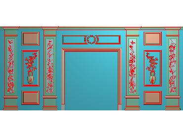 OBJQ012-JDP格式欧式整体背景墙精雕图电视背景墙电脑雕刻图背景墙浮雕精雕图(含灰度图)