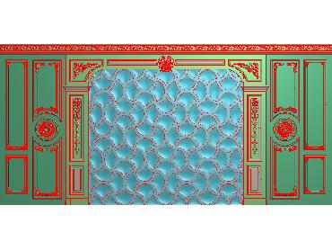 OBJQ013-JDP格式欧式整体背景墙精雕图电视背景墙电脑雕刻图背景墙浮雕精雕图(含灰度图)