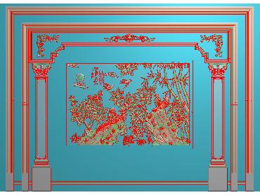 OBJQ014-JDP格式欧式整体背景墙精雕图电视背景墙电脑雕刻图背景墙浮雕精雕图(含灰度图)