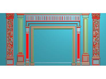OBJQ015-JDP格式欧式整体背景墙精雕图电视背景墙电脑雕刻图背景墙浮雕精雕图(含灰度图)