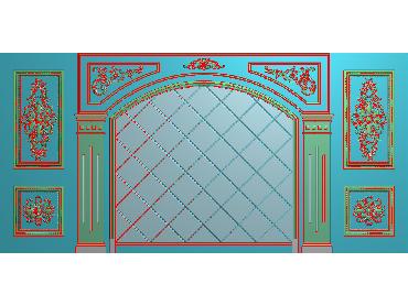 OBJQ016-JDP格式欧式整体背景墙精雕图电视背景墙电脑雕刻图背景墙浮雕精雕图(含灰度图)