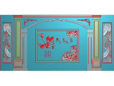 OBJQ017-JDP格式欧式整体背景墙精雕图电视背景墙电脑雕刻图背景墙浮雕精雕图(含灰度图)