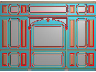 OBJQ021-JDP格式欧式整体背景墙精雕图电视背景墙电脑雕刻图背景墙浮雕精雕图(含灰度图)