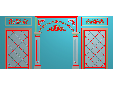 OBJQ023-JDP格式欧式整体背景墙精雕图电视背景墙电脑雕刻图背景墙浮雕精雕图(含灰度图)