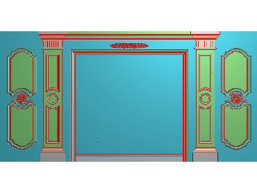 OBJQ025-JDP格式欧式整体背景墙精雕图电视背景墙电脑雕刻图背景墙浮雕精雕图(含灰度图)