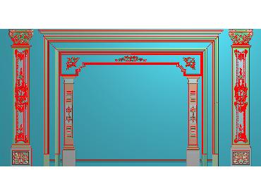 OBJQ027-JDP格式欧式整体背景墙精雕图电视背景墙电脑雕刻图背景墙浮雕精雕图(含灰度图)