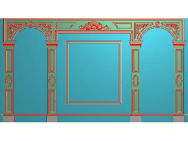 OBJQ028-JDP格式欧式整体背景墙精雕图电视背景墙电脑雕刻图背景墙浮雕精雕图(含灰度图)